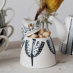 Stoneware Sugar Bowl With Pattern