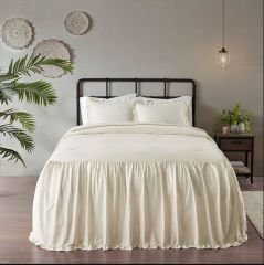 3 Piece Cotton Ruffle Bedspread Set