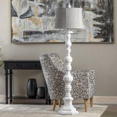 Farmhouse Floor Lamp With Linen Shade