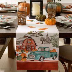 Farm Fresh Pumpkin Truck Autumn Table Runner