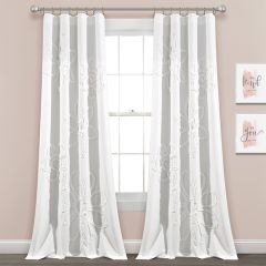 Pretty Pale Ruffle Curtain Panel Set of 2