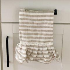 Striped Ruffled Tea Towel Set of 2