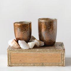 Copper Finish Glass Tealight Holder