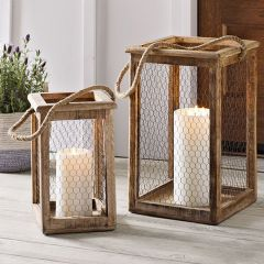 Country Farm Chicken Wire Candle Lantern Set of 2