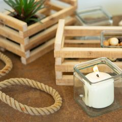 Candle Holders With Recycled Wood Base Set of 2