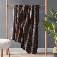 Faux Fur Farmhouse Throw Blanket Brown