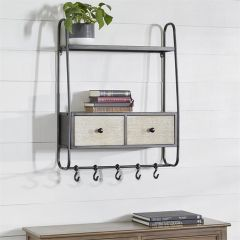 Two Drawer Wood And Metal Wall Shelf With Hooks