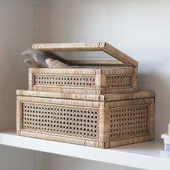 Rattan And Wood Keepsake Storage Box Set of 2