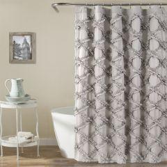 Smoky Ruffle Diamond Shower Curtain