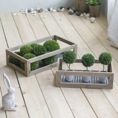 Corrugated Metal And Wood Tray Set of 2