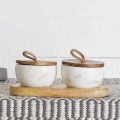 Lidded Marble Condiment Bowl Set