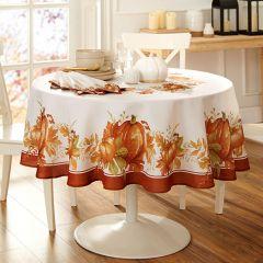 Autumn Pumpkins Round Tablecloth