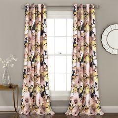 Dark Floral Curtain Panels Set of 2