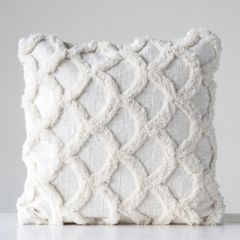 Cotton Chenille Throw Pillow White