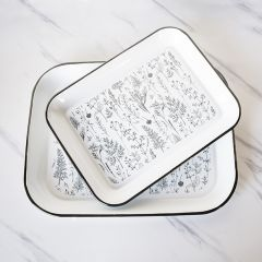 Patterned Decorative Enamelware Trays Set of 2