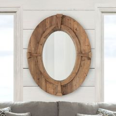 Rustic Wood Frame Oval Wall Mirror
