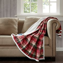 Oversized Plaid Heated Throw Blanket Red