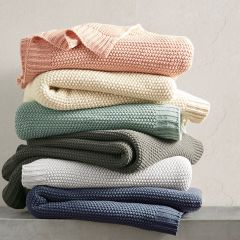 Simple Solid Knit Throw Blanket Coral
