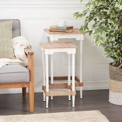 Chic Farmhouse Accent Tables Set of 2