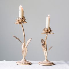 Metal Floral Taper Candle Holders Set of 2
