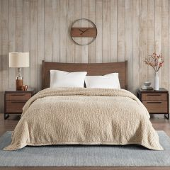 Cozy Berber Bed Blanket Tan