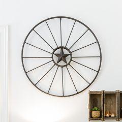 Metal Star Wagon Wheel Wall Decor