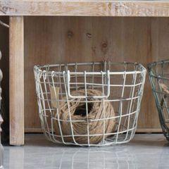 Pale Wire Oval Basket