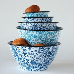 Shades of Blue Enameled Splatterware Bowl