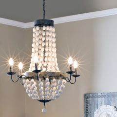 Iron Chandelier With Wood Beads