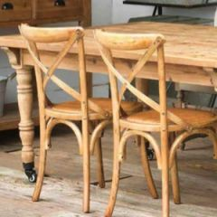 Cross Back Wooden Chairs Set of 2-1