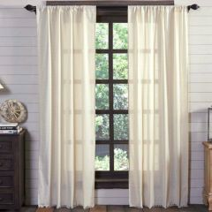Tobacco Cloth Fringed Curtains Set of 2