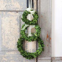 Boxwood Wreath With Ivory Ribbon Trim Set of 3