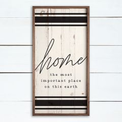 Home The Most Important Place Stripe Whitewash Framed Sign