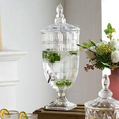 Lovely Lidded Glass Beverage Dispenser 21 Inch