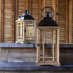 Rustic Farmhouse Windowpane Candle Lantern Set of 2