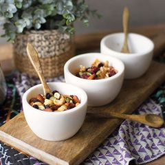 Stone Bowls With Wood Spoons and Base 7 Piece Set