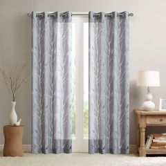 Sheer Bird on Branches Curtain Panels Set of 2 84 Inch