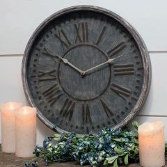 Round Rustic Metal Clock