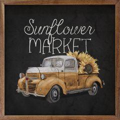 Sunflower Market Truck Black Wall Art