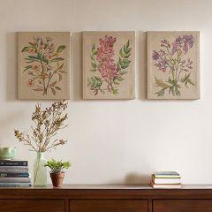 Linen Canvas Botanical Wall Art Set of 3