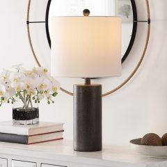 Stately Dark Lamp With Pale Shade
