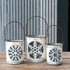 Snowflake Luminaria Bucket Set of 3