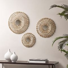 Round Mirrored Wall Decor Collection Set of 3