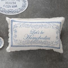 Embroidered Lumbar Pillow With Saying
