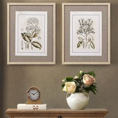 Linen Mat Botanical Print Set of 2