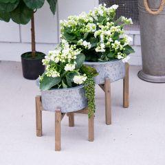 Galvanized Garden Bucket Planter on Stand Set of 2