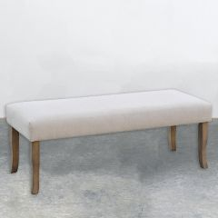 Classic Wood and Linen Farmhouse Bench