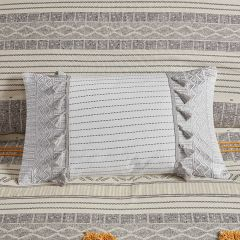 Embroidered Lumbar Pillow With Tassels
