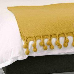 Mustard Throw Blanket With Pom Pom Tassels