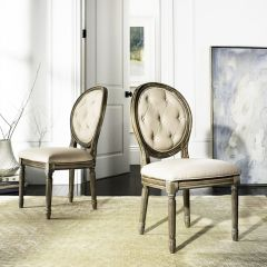 French Country Tufted Oval Side Chair Set of 2